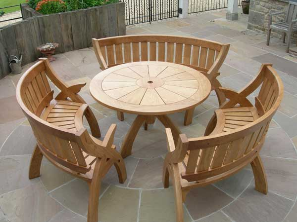 Bespoke furniture outdoor oak table for Outside garden table and chairs