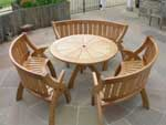 Patio table and oak benches